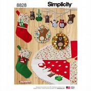 8828 Simplicity Pattern: Holiday Decorations - Stockings, Tree Ornaments, Tree Skirt, Pictures